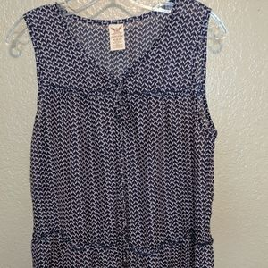Faded Glory sleeveless tunic with blue houndstooth